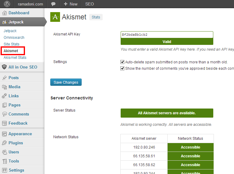 Menu Akismet pada Dashboard WordPress
