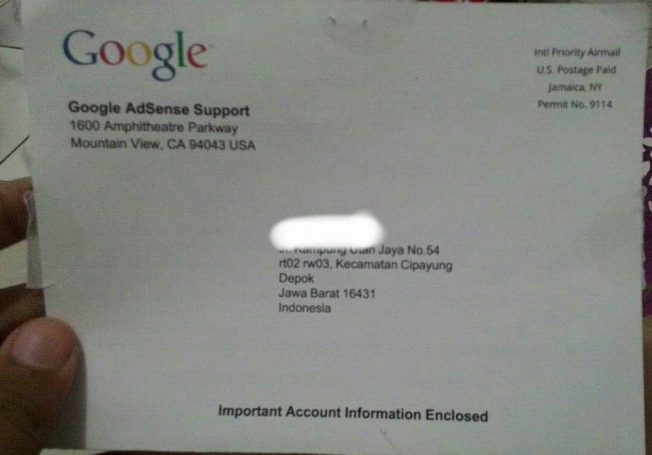 request PIN Google Adsense